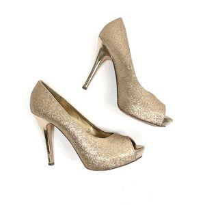 Jacqueline Ferrar gold glitter peep toe heels